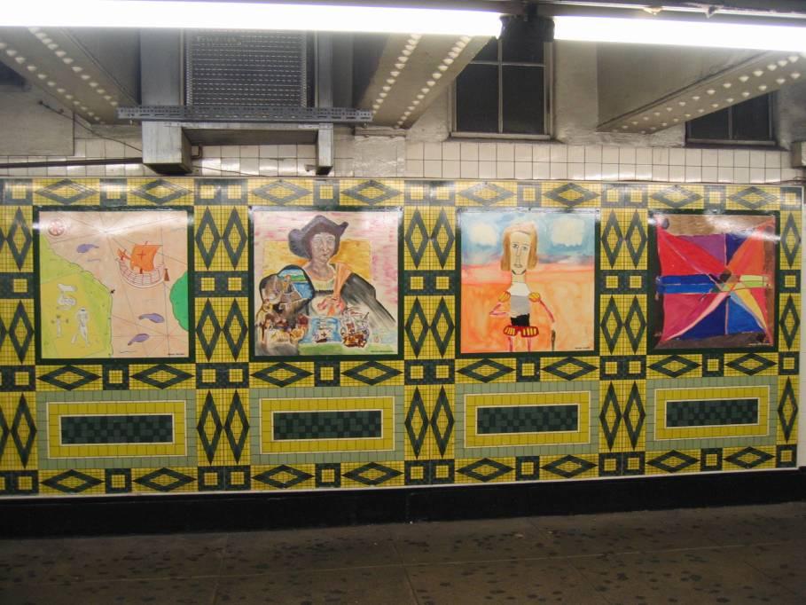 (103k, 909x682)<br><b>Country:</b> United States<br><b>City:</b> New York<br><b>System:</b> New York City Transit<br><b>Line:</b> IND 8th Avenue Line<br><b>Location:</b> 59th Street/Columbus Circle<br><b>Photo by:</b> Robbie Rosenfeld<br><b>Date:</b> 9/18/2005<br><b>Artwork:</b> <i>Hello Columbus</i>, NYC Artists & Public School Students, 1992<br><b>Viewed (this week/total):</b> 1 / 3149