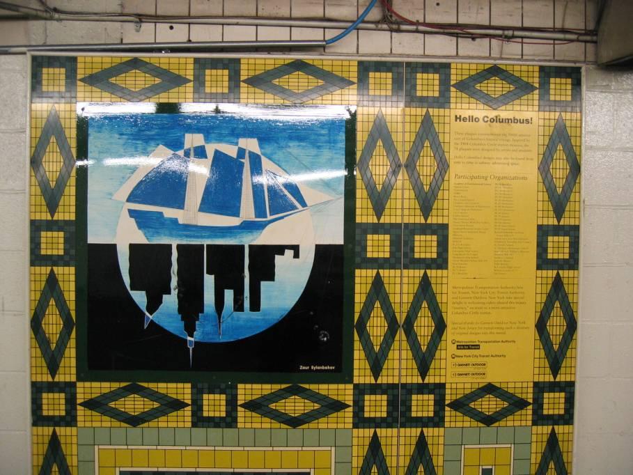 (114k, 909x682)<br><b>Country:</b> United States<br><b>City:</b> New York<br><b>System:</b> New York City Transit<br><b>Line:</b> IND 8th Avenue Line<br><b>Location:</b> 59th Street/Columbus Circle<br><b>Photo by:</b> Robbie Rosenfeld<br><b>Date:</b> 9/18/2005<br><b>Artwork:</b> <i>Hello Columbus</i>, NYC Artists & Public School Students, 1992<br><b>Viewed (this week/total):</b> 1 / 3166