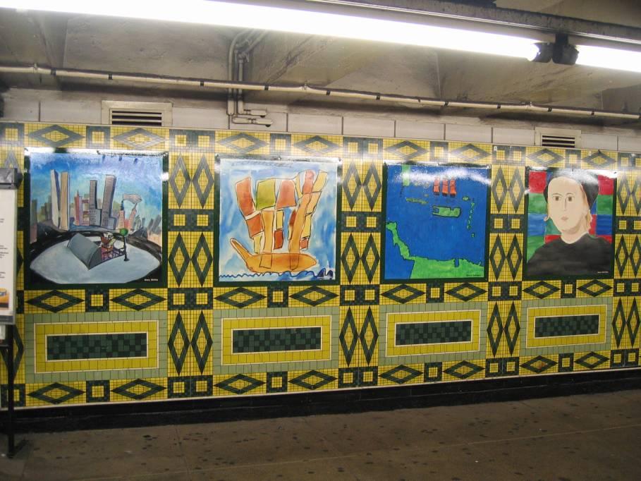 (111k, 909x682)<br><b>Country:</b> United States<br><b>City:</b> New York<br><b>System:</b> New York City Transit<br><b>Line:</b> IND 8th Avenue Line<br><b>Location:</b> 59th Street/Columbus Circle<br><b>Photo by:</b> Robbie Rosenfeld<br><b>Date:</b> 9/18/2005<br><b>Artwork:</b> <i>Hello Columbus</i>, NYC Artists & Public School Students, 1992<br><b>Viewed (this week/total):</b> 1 / 3019