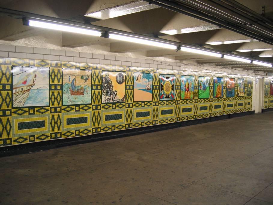 (98k, 909x682)<br><b>Country:</b> United States<br><b>City:</b> New York<br><b>System:</b> New York City Transit<br><b>Line:</b> IND 8th Avenue Line<br><b>Location:</b> 59th Street/Columbus Circle<br><b>Photo by:</b> Robbie Rosenfeld<br><b>Date:</b> 9/18/2005<br><b>Artwork:</b> <i>Hello Columbus</i>, NYC Artists & Public School Students, 1992<br><b>Viewed (this week/total):</b> 1 / 3011