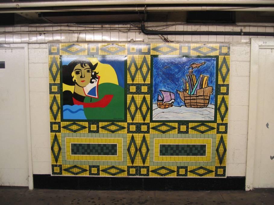 (101k, 909x682)<br><b>Country:</b> United States<br><b>City:</b> New York<br><b>System:</b> New York City Transit<br><b>Line:</b> IND 8th Avenue Line<br><b>Location:</b> 59th Street/Columbus Circle<br><b>Photo by:</b> Robbie Rosenfeld<br><b>Date:</b> 9/18/2005<br><b>Artwork:</b> <i>Hello Columbus</i>, NYC Artists & Public School Students, 1992<br><b>Viewed (this week/total):</b> 1 / 3049
