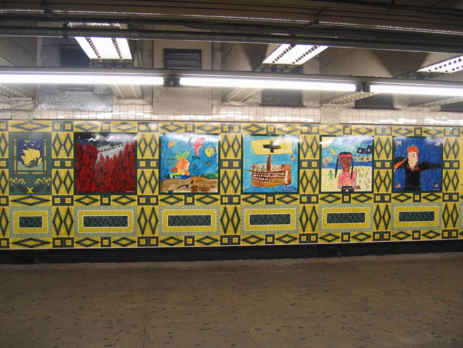 (104k, 909x682)<br><b>Country:</b> United States<br><b>City:</b> New York<br><b>System:</b> New York City Transit<br><b>Line:</b> IND 8th Avenue Line<br><b>Location:</b> 59th Street/Columbus Circle<br><b>Photo by:</b> Robbie Rosenfeld<br><b>Date:</b> 9/18/2005<br><b>Artwork:</b> <i>Hello Columbus</i>, NYC Artists & Public School Students, 1992<br><b>Viewed (this week/total):</b> 0 / 2933