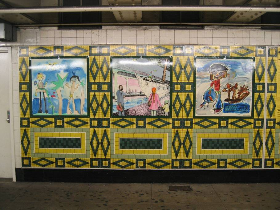 (119k, 909x682)<br><b>Country:</b> United States<br><b>City:</b> New York<br><b>System:</b> New York City Transit<br><b>Line:</b> IND 8th Avenue Line<br><b>Location:</b> 59th Street/Columbus Circle<br><b>Photo by:</b> Robbie Rosenfeld<br><b>Date:</b> 9/18/2005<br><b>Artwork:</b> <i>Hello Columbus</i>, NYC Artists & Public School Students, 1992<br><b>Viewed (this week/total):</b> 1 / 3332