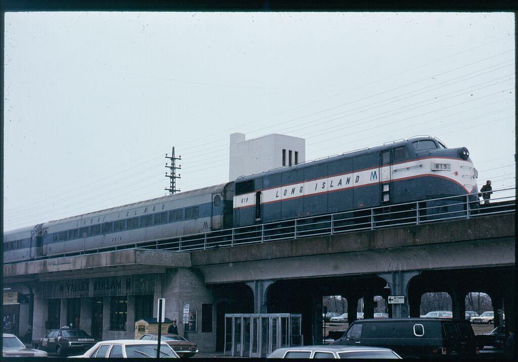 (98k, 1024x716)<br><b>Country:</b> United States<br><b>System:</b> Long Island Rail Road<br><b>Line:</b> LIRR Far Rockaway<br><b>Location:</b> Valley Stream<br><b>Car:</b> LIRR EMD F9AM (HEP/Cab Only) 619 <br><b>Photo by:</b> Steve Hoskins<br><b>Date:</b> 3/22/1980<br><b>Viewed (this week/total):</b> 0 / 4630