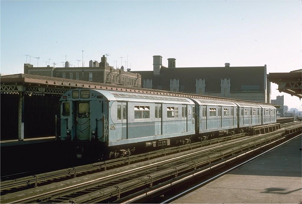 (204k, 1024x691)<br><b>Country:</b> United States<br><b>City:</b> New York<br><b>System:</b> New York City Transit<br><b>Line:</b> IRT Woodlawn Line<br><b>Location:</b> Fordham Road<br><b>Route:</b> Fan Trip<br><b>Car:</b> R-33 World's Fair (St. Louis, 1963-64) 9329 <br><b>Photo by:</b> Joe Testagrose<br><b>Date:</b> 10/27/1974<br><b>Viewed (this week/total):</b> 1 / 3431