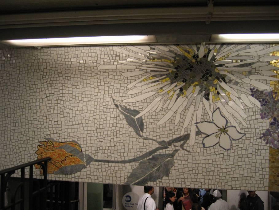 (94k, 909x682)<br><b>Country:</b> United States<br><b>City:</b> New York<br><b>System:</b> New York City Transit<br><b>Line:</b> IRT East Side Line<br><b>Location:</b> 77th Street<br><b>Photo by:</b> Robbie Rosenfeld<br><b>Date:</b> 9/2005<br><b>Artwork:</b> <i>4 Seasons Seasoned</i>, Robert Kushner, 2004<br><b>Viewed (this week/total):</b> 1 / 6185