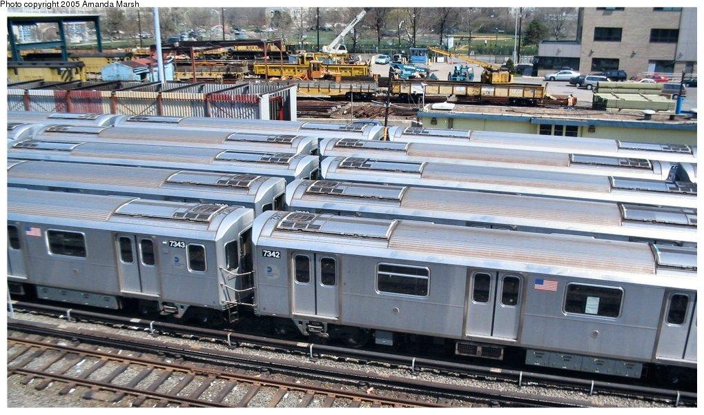 (174k, 1020x602)<br><b>Country:</b> United States<br><b>City:</b> New York<br><b>System:</b> New York City Transit<br><b>Location:</b> Westchester Yard<br><b>Car:</b> R-142A (Primary Order, Kawasaki, 1999-2002) 7342 <br><b>Photo by:</b> Amanda Marsh<br><b>Date:</b> 4/17/2004<br><b>Viewed (this week/total):</b> 1 / 4877