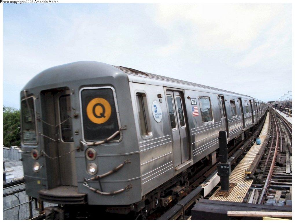 (127k, 1020x770)<br><b>Country:</b> United States<br><b>City:</b> New York<br><b>System:</b> New York City Transit<br><b>Line:</b> BMT Brighton Line<br><b>Location:</b> Ocean Parkway<br><b>Route:</b> Q<br><b>Car:</b> R-68A (Kawasaki, 1988-1989) 5172 <br><b>Photo by:</b> Amanda Marsh<br><b>Date:</b> 7/25/2004<br><b>Viewed (this week/total):</b> 0 / 3372