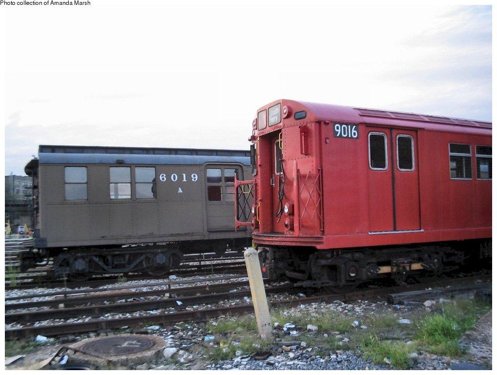 (127k, 1020x770)<br><b>Country:</b> United States<br><b>City:</b> New York<br><b>System:</b> New York City Transit<br><b>Location:</b> 207th Street Yard<br><b>Car:</b> BMT D-Type Triplex 6019 <br><b>Collection of:</b> Amanda Marsh<br><b>Date:</b> 7/25/2004<br><b>Notes:</b> With R33 9016.<br><b>Viewed (this week/total):</b> 11 / 2936