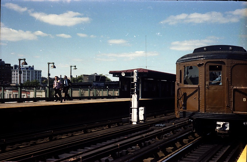 (127k, 862x566)<br><b>Country:</b> United States<br><b>City:</b> New York<br><b>System:</b> New York City Transit<br><b>Line:</b> BMT West End Line<br><b>Location:</b> 50th Street<br><b>Route:</b> Fan Trip<br><b>Car:</b> BMT A/B-Type Standard 2390/2392 <br><b>Photo by:</b> Stuart Gitlow<br><b>Date:</b> 9/11/1977<br><b>Viewed (this week/total):</b> 2 / 2370