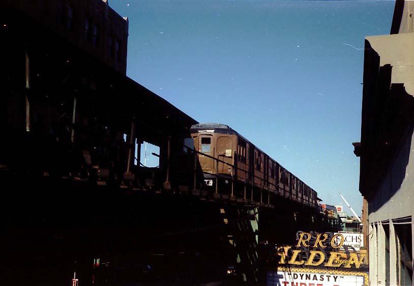 (46k, 814x563)<br><b>Country:</b> United States<br><b>City:</b> New York<br><b>System:</b> New York City Transit<br><b>Line:</b> BMT Nassau Street-Jamaica Line<br><b>Location:</b> 168th Street (Demolished)<br><b>Route:</b> Fan Trip<br><b>Car:</b> BMT A/B-Type Standard 2390/2392 <br><b>Photo by:</b> Stuart Gitlow<br><b>Date:</b> 9/11/1977<br><b>Viewed (this week/total):</b> 3 / 5004