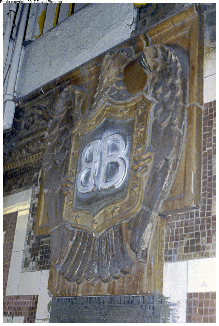 (519k, 703x1044)<br><b>Country:</b> United States<br><b>City:</b> New York<br><b>System:</b> New York City Transit<br><b>Line:</b> IRT East Side Line<br><b>Location:</b> Brooklyn Bridge/City Hall (Closed Side Platform)<br><b>Photo by:</b> David Pirmann<br><b>Date:</b> 9/24/1995<br><b>Notes:</b> Slightly vandalized Brooklyn Bridge eagle plaque.<br><b>Viewed (this week/total):</b> 0 / 5307