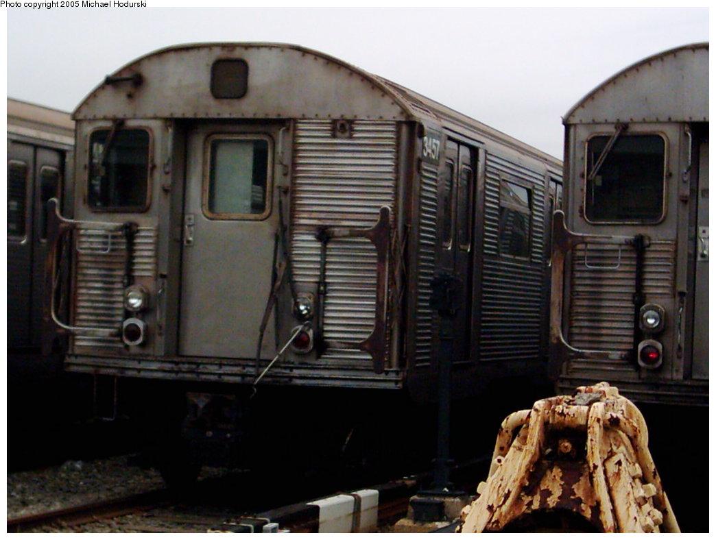 (151k, 1044x788)<br><b>Country:</b> United States<br><b>City:</b> New York<br><b>System:</b> New York City Transit<br><b>Location:</b> Coney Island Yard<br><b>Car:</b> R-32 (Budd, 1964) 3457 <br><b>Photo by:</b> Michael Hodurski<br><b>Date:</b> 3/2005<br><b>Viewed (this week/total):</b> 1 / 3994