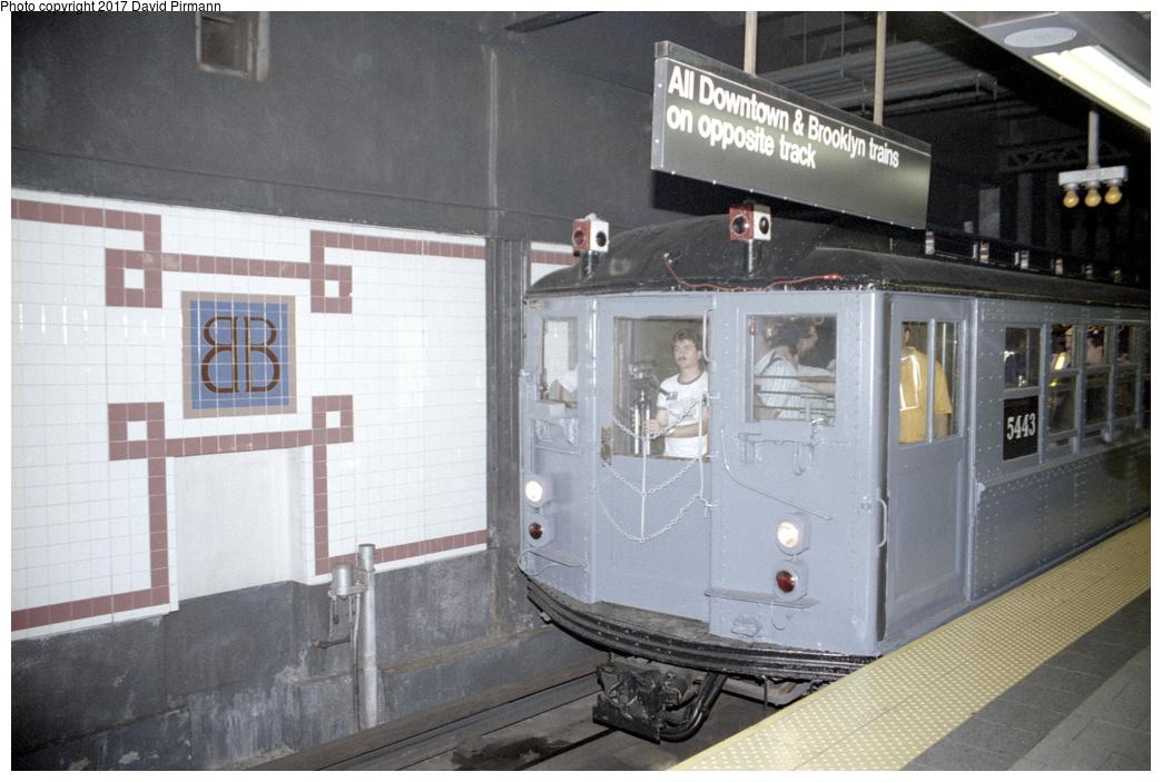 (331k, 1044x703)<br><b>Country:</b> United States<br><b>City:</b> New York<br><b>System:</b> New York City Transit<br><b>Line:</b> IRT East Side Line<br><b>Location:</b> Brooklyn Bridge/City Hall<br><b>Route:</b> Fan Trip<br><b>Car:</b> Low-V (Museum Train) 5443 <br><b>Photo by:</b> David Pirmann<br><b>Date:</b> 9/13/1998<br><b>Viewed (this week/total):</b> 7 / 3698