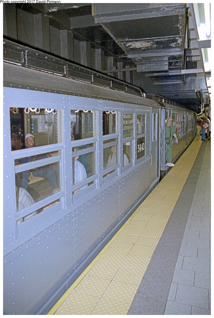 (443k, 703x1045)<br><b>Country:</b> United States<br><b>City:</b> New York<br><b>System:</b> New York City Transit<br><b>Line:</b> IRT East Side Line<br><b>Location:</b> Brooklyn Bridge/City Hall<br><b>Route:</b> Fan Trip<br><b>Car:</b> Low-V (Museum Train) 5443 <br><b>Photo by:</b> David Pirmann<br><b>Date:</b> 9/13/1998<br><b>Viewed (this week/total):</b> 2 / 2568