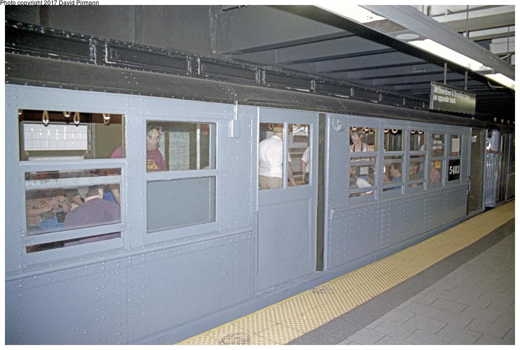 (367k, 1044x703)<br><b>Country:</b> United States<br><b>City:</b> New York<br><b>System:</b> New York City Transit<br><b>Line:</b> IRT East Side Line<br><b>Location:</b> Brooklyn Bridge/City Hall<br><b>Route:</b> Fan Trip<br><b>Car:</b> Low-V (Museum Train) 5483 <br><b>Photo by:</b> David Pirmann<br><b>Date:</b> 9/13/1998<br><b>Viewed (this week/total):</b> 1 / 2983