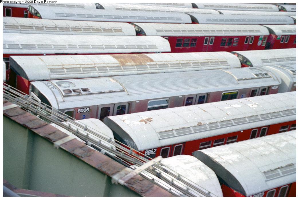 (195k, 1044x697)<br><b>Country:</b> United States<br><b>City:</b> New York<br><b>System:</b> New York City Transit<br><b>Location:</b> 239th Street Yard<br><b>Car:</b> R-110A (Kawasaki, 1992) 8006 <br><b>Photo by:</b> David Pirmann<br><b>Date:</b> 9/13/1998<br><b>Notes:</b> With R33 8862.<br><b>Viewed (this week/total):</b> 4 / 8086