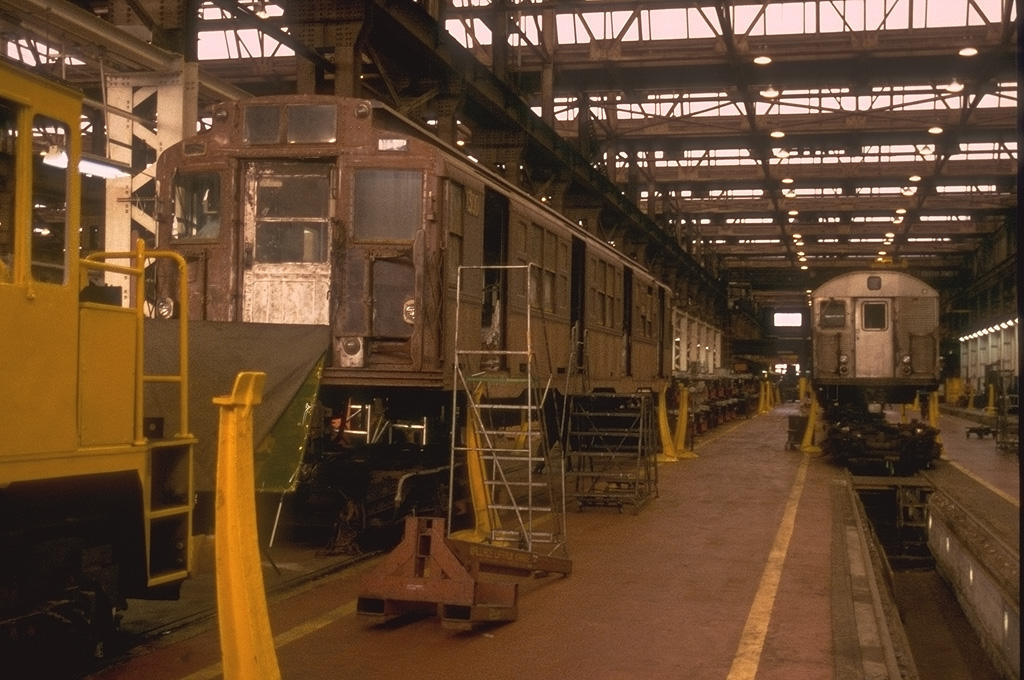 (143k, 1024x680)<br><b>Country:</b> United States<br><b>City:</b> New York<br><b>System:</b> New York City Transit<br><b>Location:</b> 207th Street Shop<br><b>Car:</b> R-6-1 (Pressed Steel, 1936) 1300 <br><b>Photo by:</b> Mike Bonte<br><b>Date:</b> 11/6/2004<br><b>Notes:</b> R6 1300 in the shop being restored.<br><b>Viewed (this week/total):</b> 2 / 4516