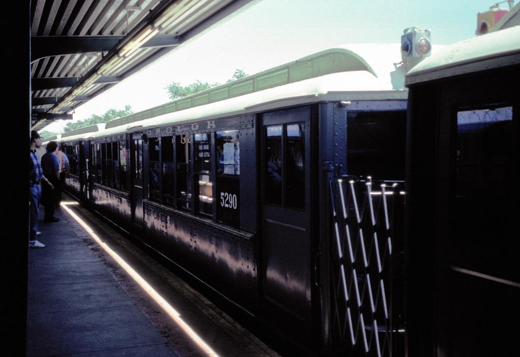 (214k, 1024x704)<br><b>Country:</b> United States<br><b>City:</b> New York<br><b>System:</b> New York City Transit<br><b>Line:</b> IND Rockaway Line<br><b>Location:</b> Rockaway Park/Beach 116th Street<br><b>Route:</b> Fan Trip<br><b>Car:</b> Low-V (Museum Train) 5290 <br><b>Photo by:</b> Chris Leverett<br><b>Date:</b> 7/6/1996<br><b>Viewed (this week/total):</b> 0 / 2418
