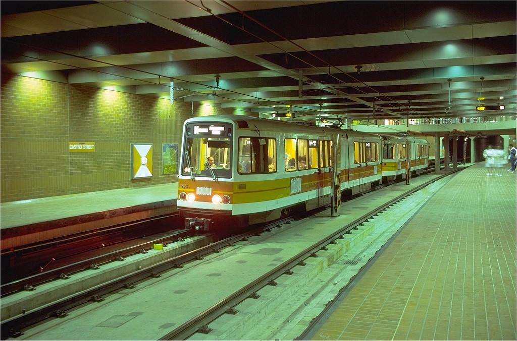 (220k, 1024x677)<br><b>Country:</b> United States<br><b>City:</b> San Francisco/Bay Area, CA<br><b>System:</b> SF MUNI<br><b>Line:</b> MUNI Metro (Metro Tunnel)<br><b>Location:</b> <b><u>Castro</u></b><br><b>Route:</b> K-Ingleside<br><b>Car:</b> MUNI Standard LRV (Boeing-Vertol, 1976-78) 1253 <br><b>Photo by:</b> Doug Grotjahn<br><b>Collection of:</b> Joe Testagrose<br><b>Date:</b> 7/1/1980<br><b>Viewed (this week/total):</b> 0 / 2743