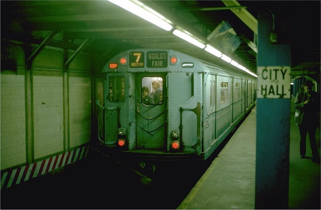 (154k, 1024x671)<br><b>Country:</b> United States<br><b>City:</b> New York<br><b>System:</b> New York City Transit<br><b>Line:</b> BMT Broadway Line<br><b>Location:</b> City Hall<br><b>Route:</b> Fan Trip<br><b>Car:</b> R-33 World's Fair (St. Louis, 1963-64) 9329 <br><b>Photo by:</b> Steve Zabel<br><b>Collection of:</b> Joe Testagrose<br><b>Date:</b> 10/27/1974<br><b>Viewed (this week/total):</b> 1 / 5417