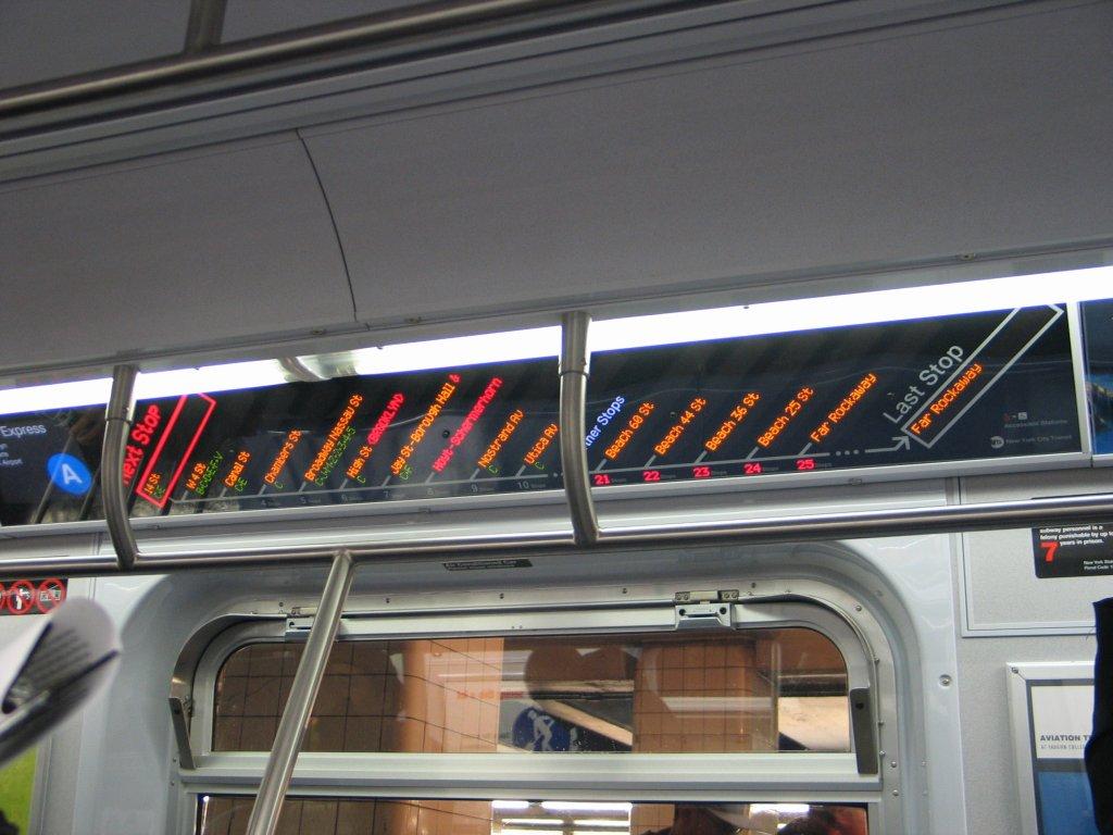 (128k, 1024x768)<br><b>Country:</b> United States<br><b>City:</b> New York<br><b>System:</b> New York City Transit<br><b>Line:</b> IND Fulton Street Line<br><b>Location:</b> Hoyt-Schermerhorn Street<br><b>Car:</b> R-160B (Kawasaki, 2005-2008) 8713 <br><b>Photo by:</b> Brian Weinberg<br><b>Date:</b> 11/29/2005<br><b>Notes:</b> The FIND (Flexible Information and Notice Display) LED strip map.<br><b>Viewed (this week/total):</b> 2 / 15551