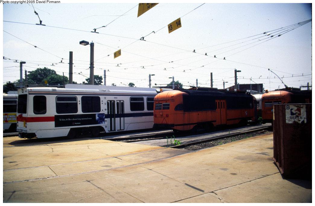 (160k, 1044x682)<br><b>Country:</b> United States<br><b>City:</b> Philadelphia, PA<br><b>System:</b> SEPTA (or Predecessor)<br><b>Location:</b> Elmwood Depot<br><b>Car:</b> PTC/SEPTA Postwar All-electric PCC (St.Louis, 1948) 2187 <br><b>Photo by:</b> David Pirmann<br><b>Date:</b> 7/4/1999<br><b>Viewed (this week/total):</b> 0 / 1130