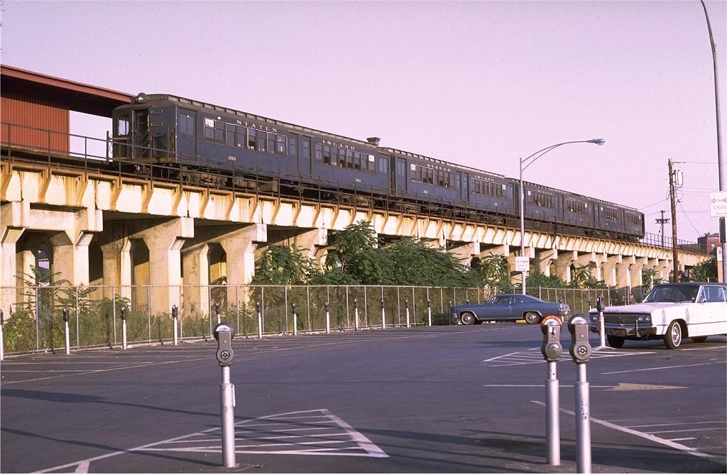 (207k, 1024x668)<br><b>Country:</b> United States<br><b>City:</b> New York<br><b>System:</b> New York City Transit<br><b>Line:</b> SIRT<br><b>Location:</b> Stapleton<br><b>Car:</b> SIRT ME-1 (Motor conv. from trailer) 393 <br><b>Photo by:</b> Doug Grotjahn<br><b>Collection of:</b> Joe Testagrose<br><b>Date:</b> 7/7/1970<br><b>Viewed (this week/total):</b> 0 / 5708