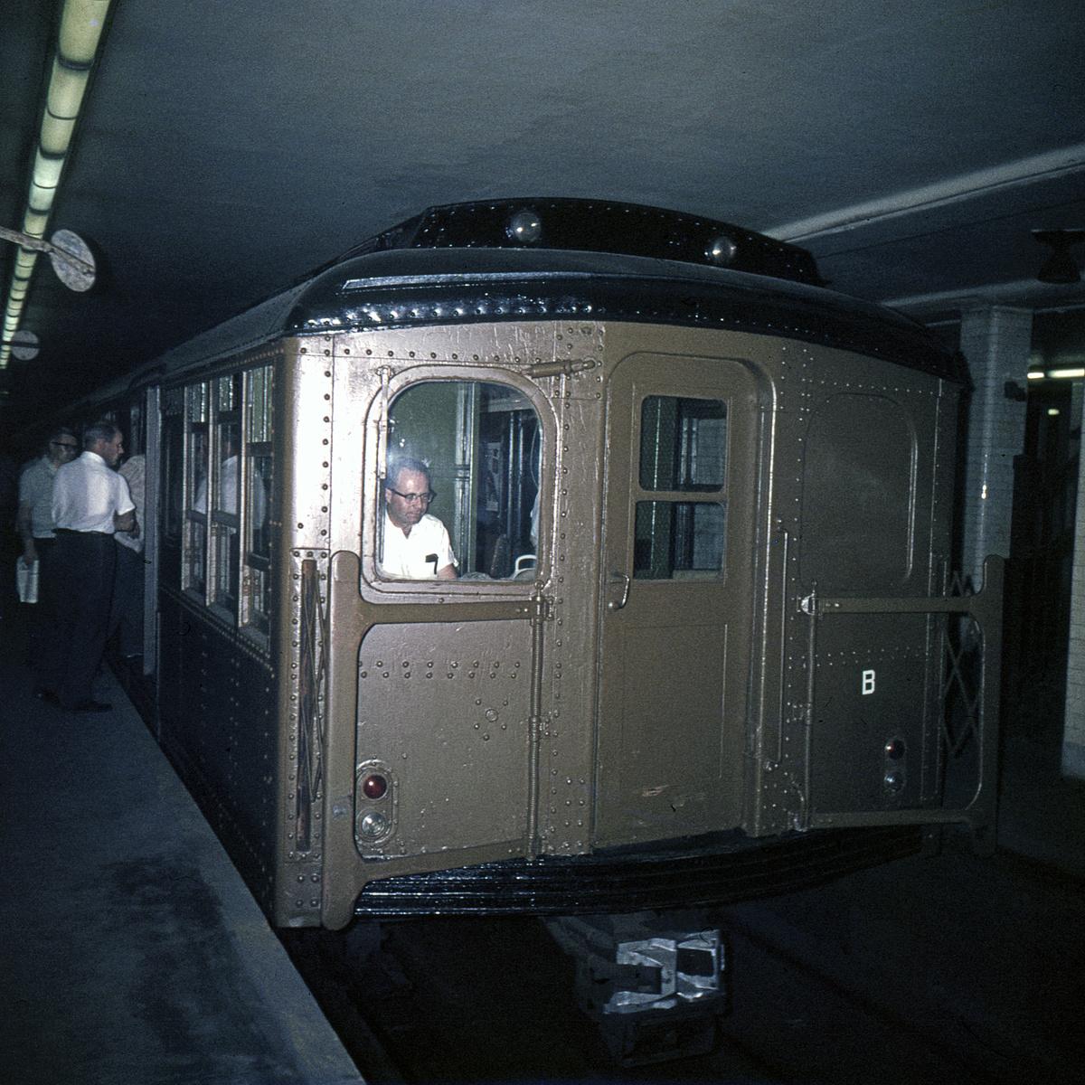 (739k, 1200x1200)<br><b>Country:</b> United States<br><b>City:</b> New York<br><b>System:</b> New York City Transit<br><b>Line:</b> BMT Nassau Street-Jamaica Line<br><b>Location:</b> Chambers Street<br><b>Route:</b> Fan Trip<br><b>Car:</b> BMT A/B-Type Standard 2390 <br><b>Collection of:</b> David Pirmann<br><b>Date:</b> 7/22/1965<br><b>Viewed (this week/total):</b> 0 / 4349