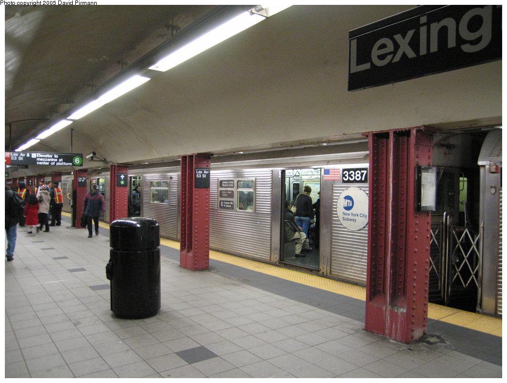 (180k, 1044x788)<br><b>Country:</b> United States<br><b>City:</b> New York<br><b>System:</b> New York City Transit<br><b>Line:</b> IND Queens Boulevard Line<br><b>Location:</b> Lexington Avenue-53rd Street<br><b>Route:</b> E<br><b>Car:</b> R-32 (Budd, 1964) 3387 <br><b>Photo by:</b> David Pirmann<br><b>Date:</b> 12/30/2005<br><b>Viewed (this week/total):</b> 3 / 5266