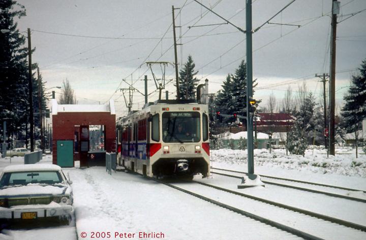 (154k, 720x474)<br><b>Country:</b> United States<br><b>City:</b> Portland, OR<br><b>System:</b> Portland MAX<br><b>Line:</b> MAX Blue (East-West) Line<br><b>Location:</b> E 197th/Ruby Junction<br><b>Car:</b> MAX Type 1 (Bombardier) 113 <br><b>Photo by:</b> Peter Ehrlich<br><b>Date:</b> 3/2/1989<br><b>Viewed (this week/total):</b> 2 / 2399