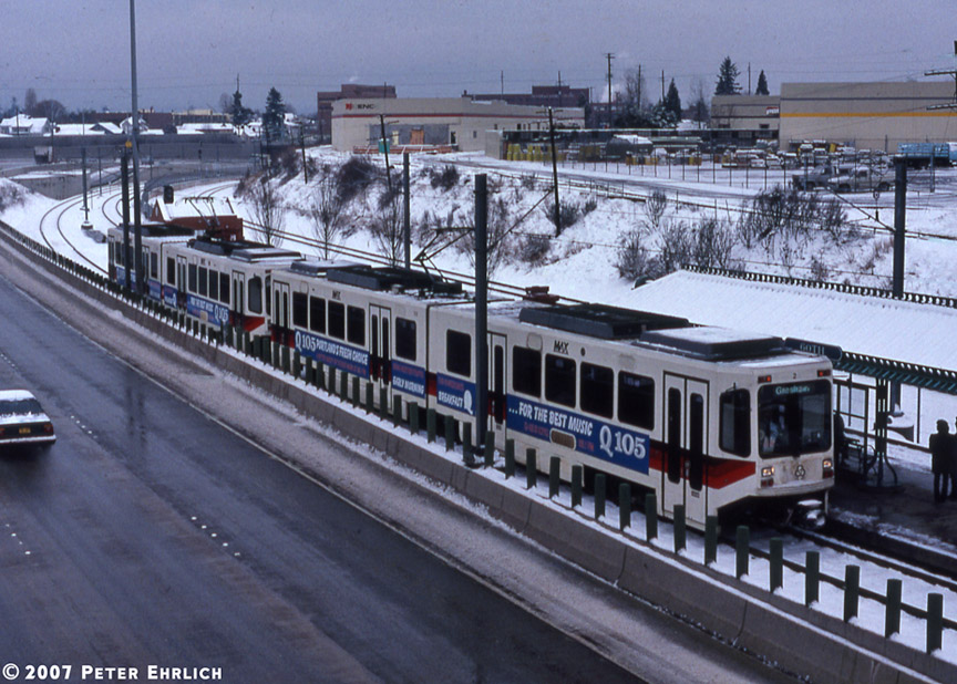 (221k, 864x618)<br><b>Country:</b> United States<br><b>City:</b> Portland, OR<br><b>System:</b> Portland MAX<br><b>Line:</b> MAX Blue (East-West) Line<br><b>Location:</b> NE 60th<br><b>Car:</b> MAX Type 1 (Bombardier) 122+120 <br><b>Photo by:</b> Peter Ehrlich<br><b>Date:</b> 3/2/1989<br><b>Viewed (this week/total):</b> 1 / 2333