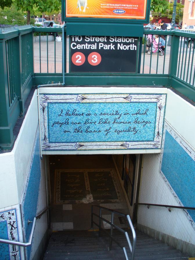 (134k, 672x896)<br><b>Country:</b> United States<br><b>City:</b> New York<br><b>System:</b> New York City Transit<br><b>Line:</b> IRT Lenox Avenue Line<br><b>Location:</b> 110th Street/Central Park North<br><b>Photo by:</b> Robbie Rosenfeld<br><b>Date:</b> 5/22/2006<br><b>Artwork:</b> <i>Message from Malcolm</i>, Maren Hassinger, 1998<br><b>Viewed (this week/total):</b> 4 / 4755