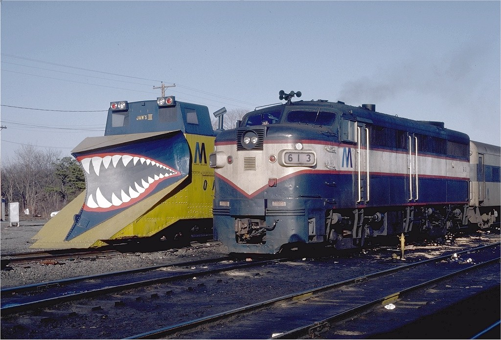 (231k, 1024x696)<br><b>Country:</b> United States<br><b>System:</b> Long Island Rail Road<br><b>Line:</b> LIRR Greenport<br><b>Location:</b> Ronkonkoma<br><b>Car:</b> LIRR Alco FA1M (HEP/Cab Only) 613 <br><b>Photo by:</b> Steve Zabel<br><b>Collection of:</b> Joe Testagrose<br><b>Date:</b> 2/28/1982<br><b>Viewed (this week/total):</b> 0 / 3352
