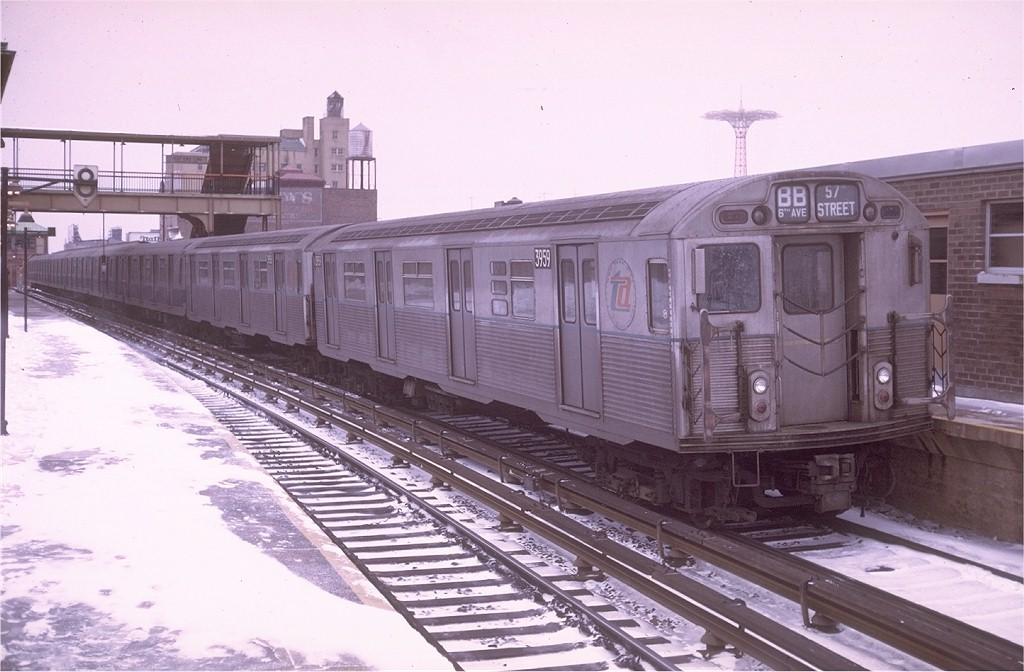 (174k, 1024x672)<br><b>Country:</b> United States<br><b>City:</b> New York<br><b>System:</b> New York City Transit<br><b>Location:</b> Coney Island/Stillwell Avenue<br><b>Route:</b> B<br><b>Car:</b> R-38 (St. Louis, 1966-1967) 3959 <br><b>Photo by:</b> Doug Grotjahn<br><b>Collection of:</b> Joe Testagrose<br><b>Date:</b> 12/27/1969<br><b>Viewed (this week/total):</b> 1 / 5560