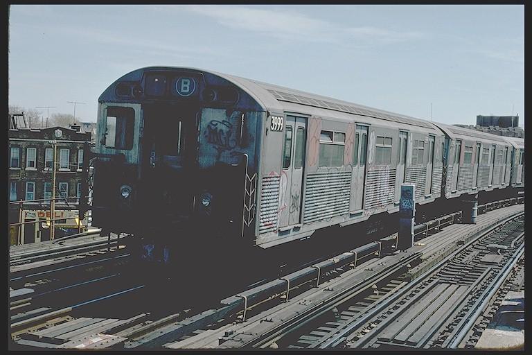 (122k, 768x512)<br><b>Country:</b> United States<br><b>City:</b> New York<br><b>System:</b> New York City Transit<br><b>Line:</b> BMT West End Line<br><b>Location:</b> 25th Avenue<br><b>Route:</b> B<br><b>Car:</b> R-38 (St. Louis, 1966-1967) 3999 <br><b>Photo by:</b> Joe Testagrose<br><b>Date:</b> 4/16/1977<br><b>Viewed (this week/total):</b> 0 / 5642