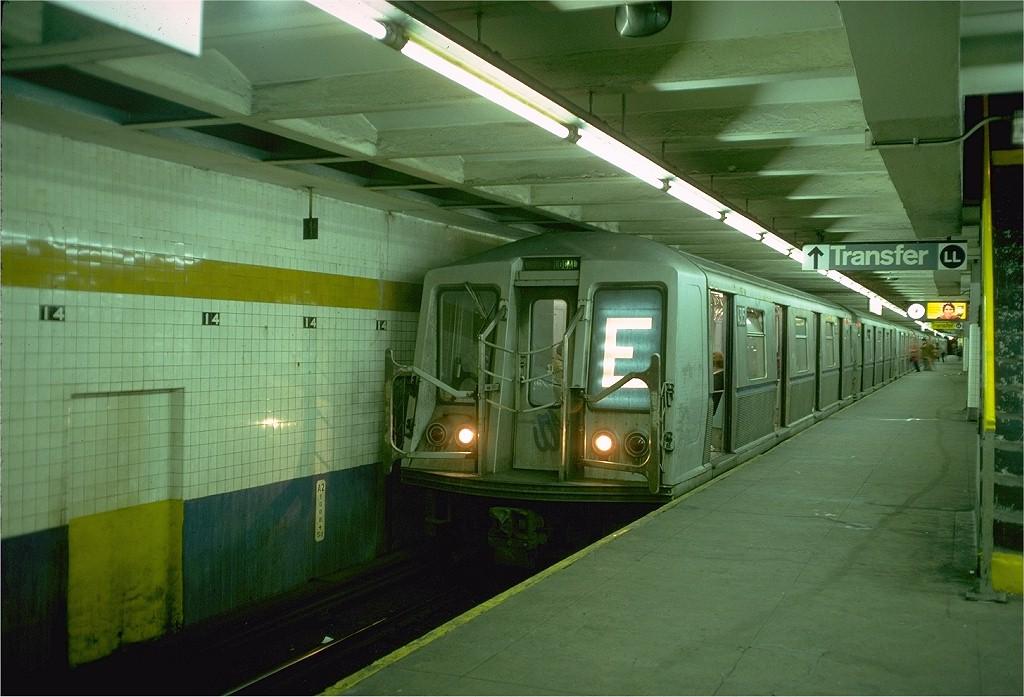 (183k, 1024x697)<br><b>Country:</b> United States<br><b>City:</b> New York<br><b>System:</b> New York City Transit<br><b>Line:</b> IND 8th Avenue Line<br><b>Location:</b> 14th Street<br><b>Route:</b> E<br><b>Car:</b> R-40 (St. Louis, 1968) 4315 (ex-4415)<br><b>Photo by:</b> Doug Grotjahn<br><b>Collection of:</b> Joe Testagrose<br><b>Date:</b> 10/31/1976<br><b>Viewed (this week/total):</b> 0 / 5865
