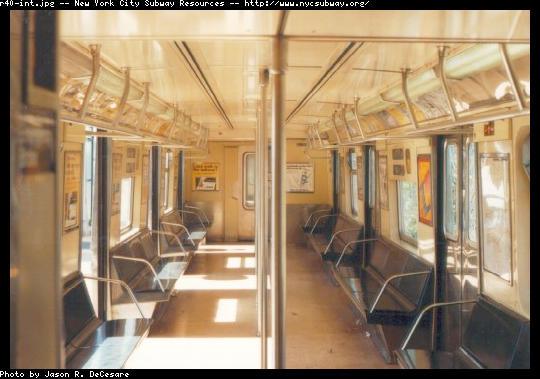 (43k, 540x379)<br><b>Country:</b> United States<br><b>City:</b> New York<br><b>System:</b> New York City Transit<br><b>Car:</b> R-40 (St. Louis, 1968) Interior <br><b>Photo by:</b> Jason R. DeCesare<br><b>Date:</b> 6/1997<br><b>Viewed (this week/total):</b> 0 / 19027