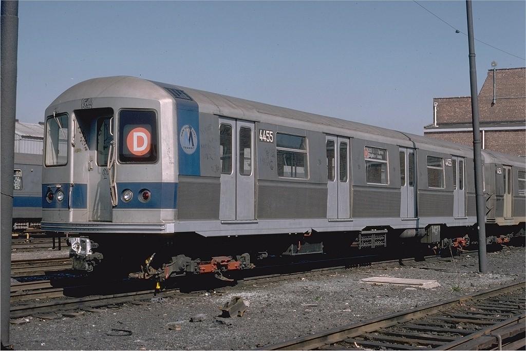 (210k, 1024x684)<br><b>Country:</b> United States<br><b>City:</b> New York<br><b>System:</b> New York City Transit<br><b>Location:</b> Coney Island Yard<br><b>Car:</b> R-40M (St. Louis, 1969) 4455 (ex-4255)<br><b>Photo by:</b> Steve Zabel<br><b>Collection of:</b> Joe Testagrose<br><b>Date:</b> 4/18/1978<br><b>Viewed (this week/total):</b> 0 / 5684