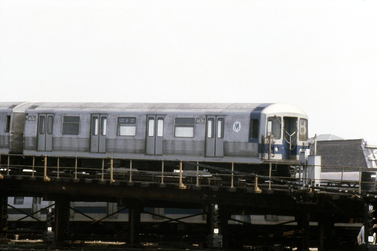 (352k, 1200x800)<br><b>Country:</b> United States<br><b>City:</b> New York<br><b>System:</b> New York City Transit<br><b>Location:</b> Coney Island Yard<br><b>Car:</b> R-42 (St. Louis, 1969-1970) 4656 <br><b>Photo by:</b> Steve Hoskins<br><b>Collection of:</b> David Pirmann<br><b>Date:</b> 8/1979<br><b>Viewed (this week/total):</b> 3 / 4403