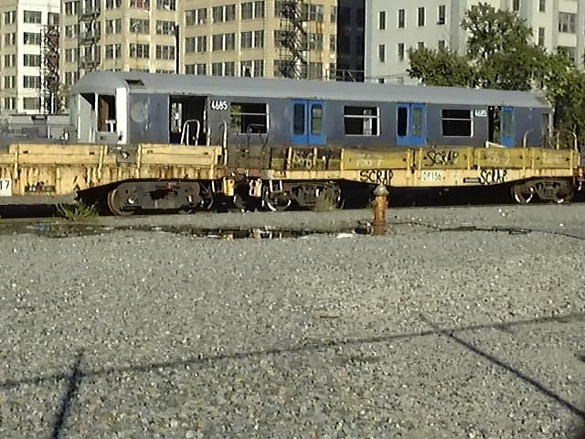(78k, 640x480)<br><b>Country:</b> United States<br><b>City:</b> New York<br><b>System:</b> New York City Transit<br><b>Line:</b> South Brooklyn Railway<br><b>Location:</b> SBK Yard (2nd Ave at 38th St.) (SBK)<br><b>Car:</b> R-42 (St. Louis, 1969-1970) 4685 <br><b>Photo by:</b> Trevor Logan<br><b>Date:</b> 9/2000<br><b>Notes:</b> Bush Terminal Scrapyard<br><b>Viewed (this week/total):</b> 7 / 16245