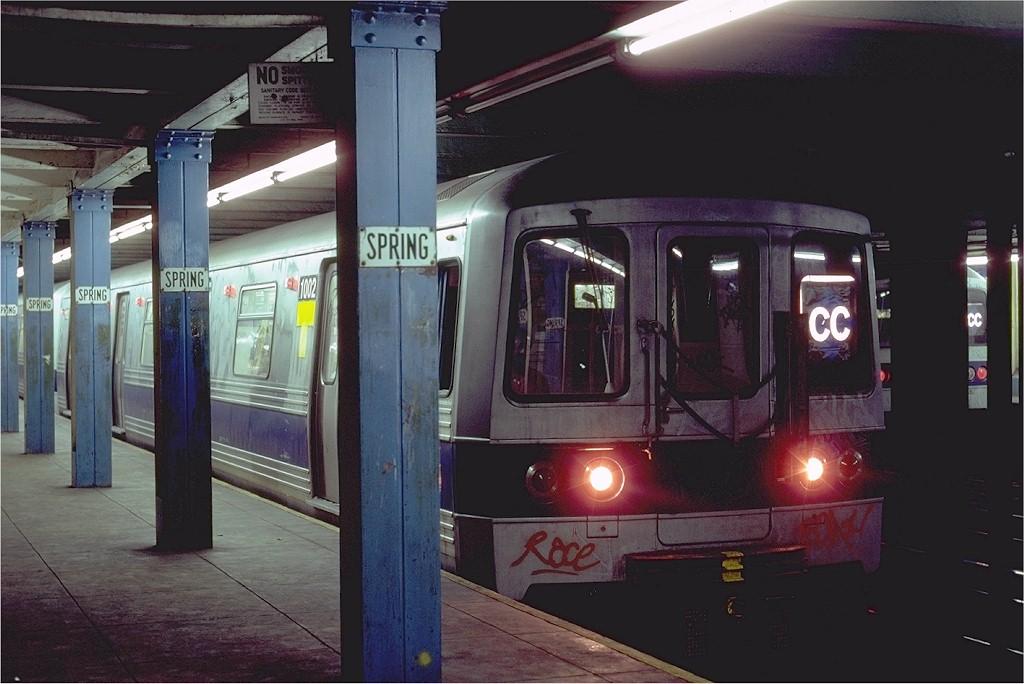 (165k, 1024x684)<br><b>Country:</b> United States<br><b>City:</b> New York<br><b>System:</b> New York City Transit<br><b>Line:</b> IND 8th Avenue Line<br><b>Location:</b> Spring Street<br><b>Route:</b> CC<br><b>Car:</b> R-46 (Pullman-Standard, 1974-75) 1002 <br><b>Photo by:</b> Steve Zabel<br><b>Collection of:</b> Joe Testagrose<br><b>Date:</b> 8/21/1980<br><b>Viewed (this week/total):</b> 0 / 8942