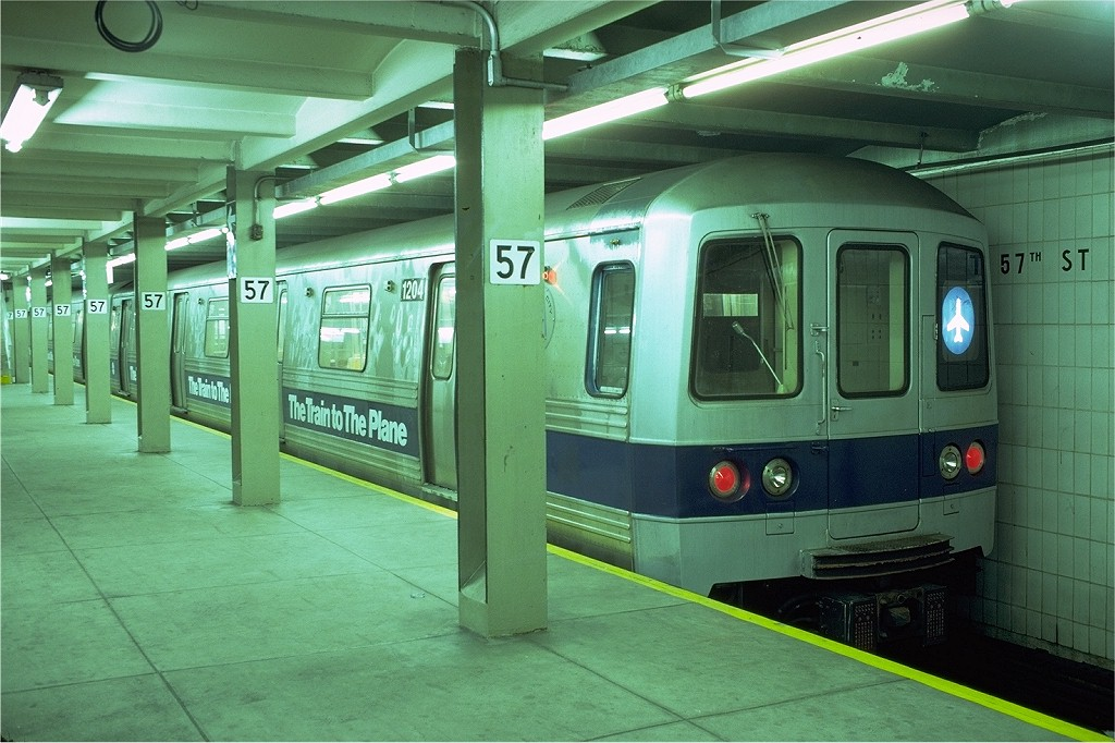(194k, 1024x682)<br><b>Country:</b> United States<br><b>City:</b> New York<br><b>System:</b> New York City Transit<br><b>Line:</b> IND 6th Avenue Line<br><b>Location:</b> 57th Street<br><b>Route:</b> JFK<br><b>Car:</b> R-46 (Pullman-Standard, 1974-75) 1204 <br><b>Photo by:</b> Doug Grotjahn<br><b>Collection of:</b> Joe Testagrose<br><b>Date:</b> 11/18/1979<br><b>Viewed (this week/total):</b> 4 / 7279