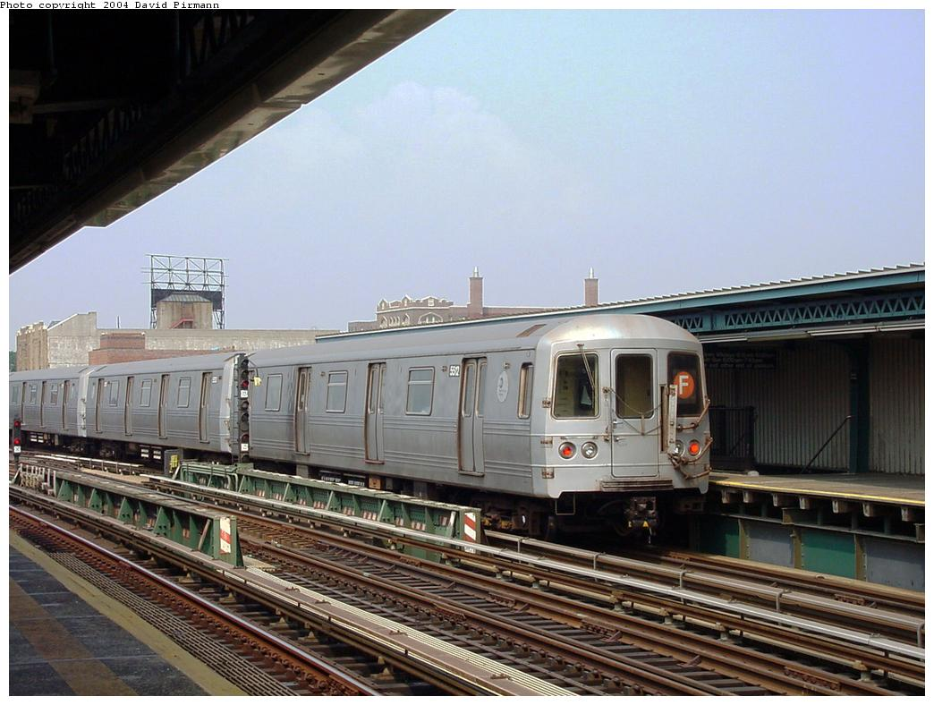 (130k, 1044x788)<br><b>Country:</b> United States<br><b>City:</b> New York<br><b>System:</b> New York City Transit<br><b>Line:</b> BMT Culver Line<br><b>Location:</b> Ditmas Avenue<br><b>Route:</b> F<br><b>Car:</b> R-46 (Pullman-Standard, 1974-75) 5612 <br><b>Photo by:</b> David Pirmann<br><b>Date:</b> 8/27/2000<br><b>Viewed (this week/total):</b> 0 / 3778