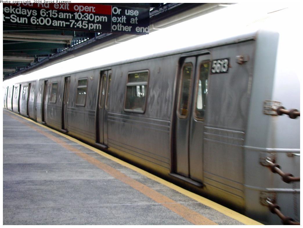 (97k, 1044x788)<br><b>Country:</b> United States<br><b>City:</b> New York<br><b>System:</b> New York City Transit<br><b>Line:</b> BMT Culver Line<br><b>Location:</b> Ditmas Avenue<br><b>Route:</b> F<br><b>Car:</b> R-46 (Pullman-Standard, 1974-75) 5613 <br><b>Photo by:</b> David Pirmann<br><b>Date:</b> 8/27/2000<br><b>Viewed (this week/total):</b> 0 / 3822