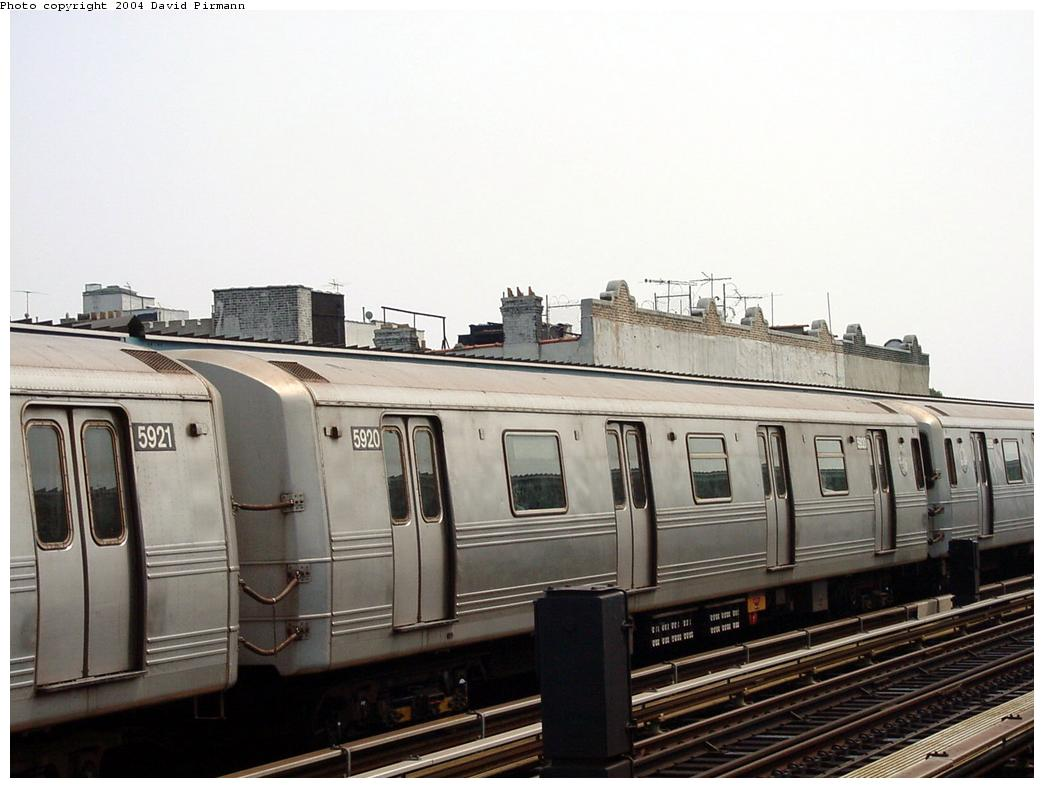 (103k, 1044x788)<br><b>Country:</b> United States<br><b>City:</b> New York<br><b>System:</b> New York City Transit<br><b>Line:</b> BMT Culver Line<br><b>Location:</b> Ditmas Avenue<br><b>Route:</b> F<br><b>Car:</b> R-46 (Pullman-Standard, 1974-75) 5920 <br><b>Photo by:</b> David Pirmann<br><b>Date:</b> 8/27/2000<br><b>Viewed (this week/total):</b> 0 / 3118