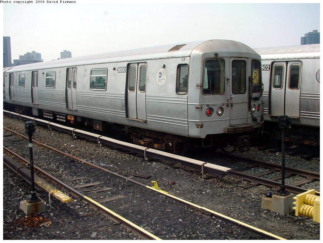 (145k, 1044x788)<br><b>Country:</b> United States<br><b>City:</b> New York<br><b>System:</b> New York City Transit<br><b>Location:</b> Jamaica Yard/Shops<br><b>Car:</b> R-46 (Pullman-Standard, 1974-75) 6000 <br><b>Photo by:</b> David Pirmann<br><b>Date:</b> 8/27/2000<br><b>Viewed (this week/total):</b> 0 / 6451