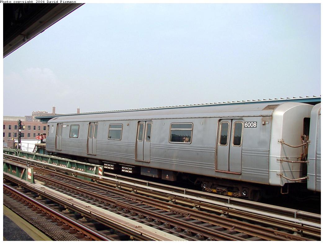 (120k, 1044x788)<br><b>Country:</b> United States<br><b>City:</b> New York<br><b>System:</b> New York City Transit<br><b>Line:</b> BMT Culver Line<br><b>Location:</b> Ditmas Avenue<br><b>Route:</b> F<br><b>Car:</b> R-46 (Pullman-Standard, 1974-75) 6008 <br><b>Photo by:</b> David Pirmann<br><b>Date:</b> 8/27/2000<br><b>Viewed (this week/total):</b> 1 / 3128