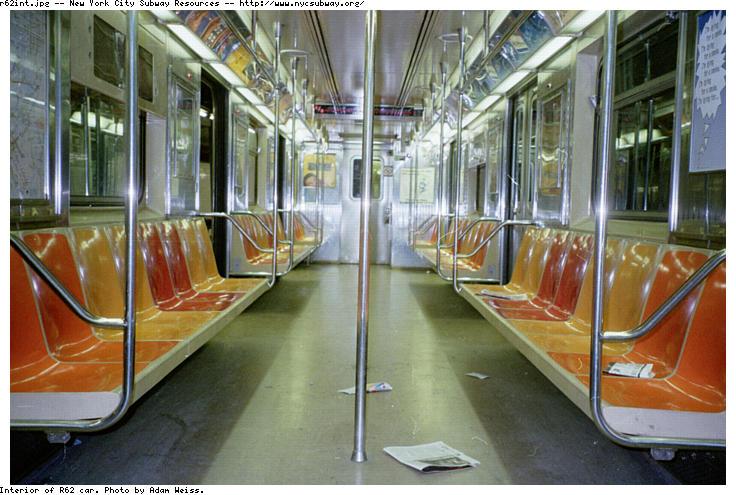 (88k, 736x495)<br><b>Country:</b> United States<br><b>City:</b> New York<br><b>System:</b> New York City Transit<br><b>Car:</b> R-62A (Bombardier, 1984-1987) Interior <br><b>Photo by:</b> Adam Weiss<br><b>Date:</b> 1997<br><b>Viewed (this week/total):</b> 8 / 19099