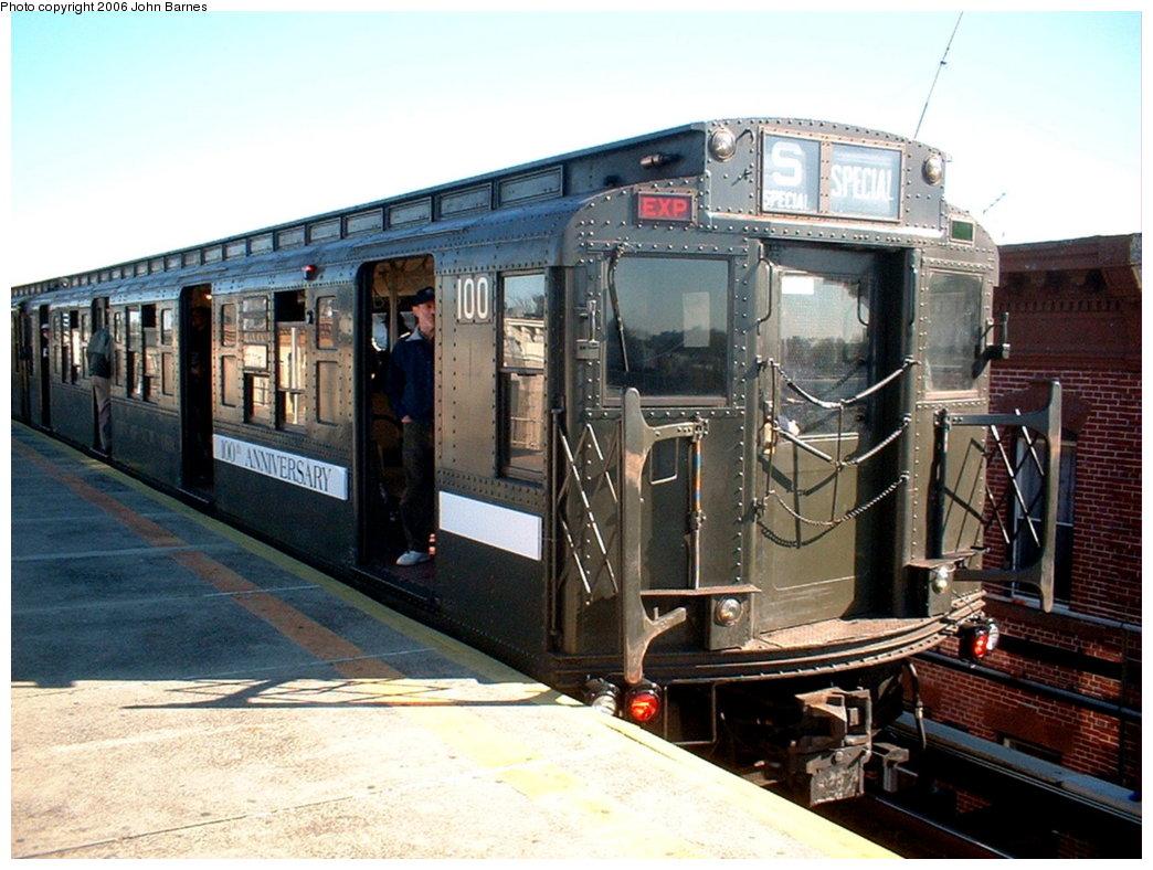 (185k, 1044x788)<br><b>Country:</b> United States<br><b>City:</b> New York<br><b>System:</b> New York City Transit<br><b>Line:</b> BMT Nassau Street-Jamaica Line<br><b>Location:</b> Crescent Street<br><b>Route:</b> Fan Trip<br><b>Car:</b> R-1 (American Car & Foundry, 1930-1931) 100 <br><b>Photo by:</b> John Barnes<br><b>Date:</b> 11/9/2003<br><b>Viewed (this week/total):</b> 0 / 3379